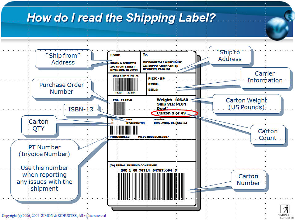 simon schuster39s corporate customer service page simon With how to use a shipping label